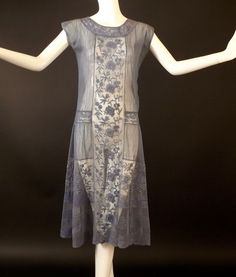 1920s Blue Embroidered Net & Lace Dress, Bust-36