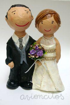 paper mache wedding couple