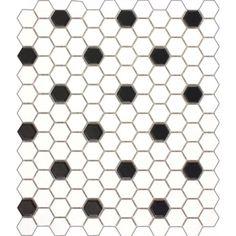 Matt Black & White Hexagon Mosaic