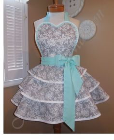 Grey Damask Triple Tiered Retro Apron Accented With Mint Green Www.etsy.com/shop/MamaMadison