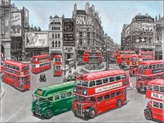 Original drawings, prints and limited editions by artist Stephen Wiltshire of London bus at Piccadilly Circus, London Piccadilly Circus, Richard Branson, Stephen Wiltshire, Autistic Artist, Cityscape Drawing, Bus Art, Red Bus, London Bus, Amazing Drawings
