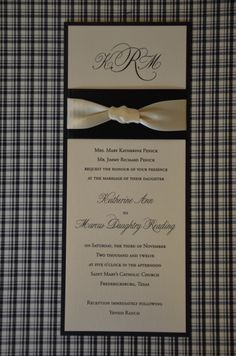 This very vertical invitation is called tea length. The pearlized shimmer top layer, accented by the black bottom layer and dual ribbon combination, gave this #weddinginvitation a glamor and sophistication all its own. Katherine and Marcus loved it and so did their guests. Let us design an invitation for you. Call us at 512.323.0600 (Austin, TX) Follow on www.facebook.com/favorsyoukeep #customweddinginvitations #uniqueweddinginvitations #austininvitation
