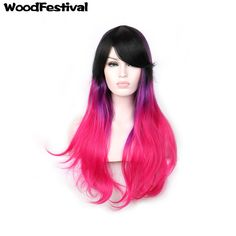 WoodFestival real picture women synthetic wigs heat resistant straight wig ombre wigs with bangs 75cm black red wig hair