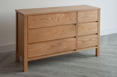 A large Shaker style chest of drawers in solid oak. Useful, stylish storage for the bedroom or the lounge. Free delivery within mainland UK. Cube Furniture, Oak Bedroom Furniture, Contemporary Bedroom Furniture, Dining Furniture, Furniture Design, Furniture Storage, Chest Of Drawers Decor, 6 Drawer Chest, Bedroom Drawers