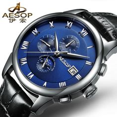 89.99$  Watch now - http://aliafr.shopchina.info/go.php?t=32694113794 - AESOP 9006 Switzerland watches men luxury brand automatic self-wind mechanical daydate month Moon phases blue Leather belt 89.99$ #buyonline