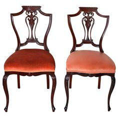 Pair of Petite Mahogany Salon Chairs | From a unique collection of antique and modern side chairs at http://www.1stdibs.com/furniture/seating/side-chairs/