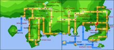 Map of Johto (left) and Kanto (right), for reference in naming parts of the map.