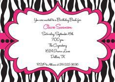 Hot Pink and Black Zebra Print  Girls Birthday by mycharmingprints, $0.85