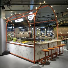 Juice bar at The Cloud Club at Eindhoven Airport. Juice bar at The Cloud Club at Eindhoven Airport. Kiosk Design, Hall Design, Booth Design, Retail Design, Store Design, Deco Restaurant, Restaurant Design, Food Court Design, Juice Bar Design
