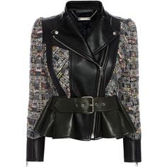 Alexander McQueen Leather Jacket (€3.360) ❤ liked on Polyvore featuring outerwear, jackets, coats & jackets, tops, multicolor, real leather jacket, peplum jacket, lapel jacket, colorful leather jackets and leather jacket