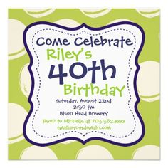 Modern Purple Lime 40th Birthday Party Invitations