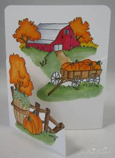 Card made with Harvest TryFold rubber stamps from Art Impressions.It was colored with Copic markers.