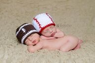 Crochet baseball and football baby hats