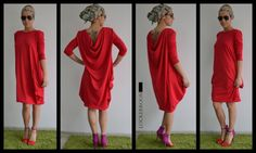 Maxi top/Tunic Dress /Red ASYMMETRIC Long by ClothesByLockerRoom