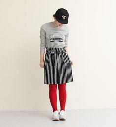 ツイルストレッチ ストライプptギャザースカート