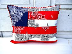 Red, White and Blue Bandana Patchwork Flag Pillow