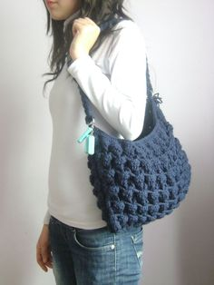 Handmade Knitted Shoulder Bag -  Everyday Bag,Crochet handbag .Handmade Knit Bag navy blue, Celebrity Style,custom design