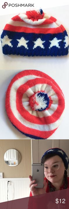 Vintage Red White and Blue Slouchie Hat / Beanie Vintage 1970's beanie/Slouchie hat. Red, white, and blue with flag print, Pom Pom on the top. In good condition for its age!  🚫 No Trades 🚫 No Lowball Offers 👍 Use the Offer Button 🚭 Smoke-Free Home Accessories Hats