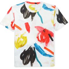 Paul Smith Printed Cotton T-Shirt ($250) ❤ liked on Polyvore featuring men's fashion, men's clothing, men's shirts, men's t-shirts, mens cotton t shirts, paul smith mens shirt, colorful mens dress shirts, mens cotton shirts and mens graphic t shirts