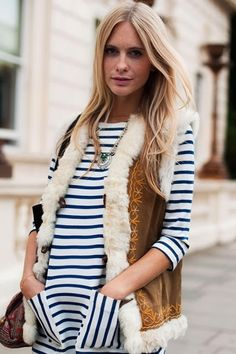 Casual Outfit : vest, stripe top, fall or winter weather street wear.