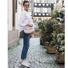 PEARL WHITE BLOUSE, JEANS AND PASTEL PINK by Margot Guilbert