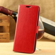 www.gajetto.nl  @ Vintage Waxy Leather Wallet Flip Cover Case for HTC One M8 Red ☺. ☻  ☂ ☺