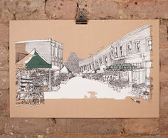 Columbia rd – Brown by Jo Peel - For sale at Nelly Duff Columbia Road, Flower Market, The Duff, Vintage World Maps, Art Pieces, London Illustration, Gallery, Brown, Artist