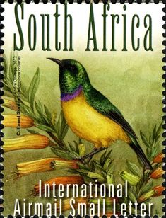 Stamps showing Collared Sunbird Hedydipna collaris, with distribution map showing range