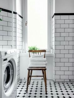 Discover recipes, home ideas, style inspiration and other ideas to try. Narrow Bathroom, Laundry Room Bathroom, Downstairs Bathroom, Bathroom Renos, Bathroom Flooring, Bad Inspiration, Bathroom Inspiration, Black And White Tiles, Black White Bathrooms