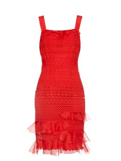 OSCAR DE LA RENTA Guipure-lace sleeveless dress