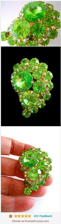 JULIANA D&E Rivoli Lime Green Brooch, Green Rhinestones, ABs, Vintage #brooch #juliana #limegreen #rhinestones #AB #vintage #goldplate https://www.etsy.com/RenaissanceFair/listing/569833259/juliana-de-rivoli-lime-green-brooch?ref=listings_manager_grid  (Pinned using https://PromotePictures.com)