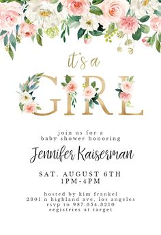 It s a girl floral letters baby shower invitation template free swan pink roses baby shower invitation template free Baby Shower Boho, Baby Girl Shower Themes, Girl Baby Shower Decorations, Baby Shower Invites For Girl, Floral Baby Shower, Free Baby Shower Invitations, Baby Shower Templates, Baby Girl Invitations, Wedding Invitations