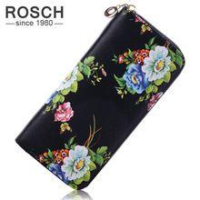 Hot New květinovým potiskem Women Wallet Peněženka Flowers PU kůže Women Long Luxury Brand Wallet Žena Cute Black Day Lady Spojka (Čína (pevninská část))