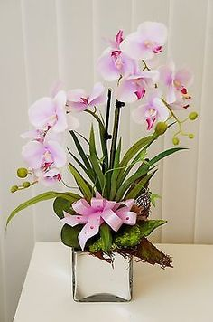 Artificial #flowers orchid in #glass pot / real #touch / handmade, View more on the LINK: http://www.zeppy.io/product/gb/2/122081644024/