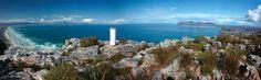 St James Peak - on top of mountain range above St James & Muizenberg. False Bay visible below. Cape Town.