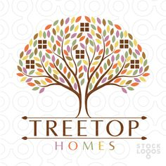 Beautiful logo design of a flourishing tree, Window shapes are placed throughout the tree.
