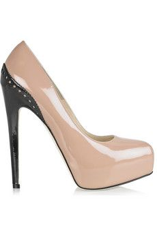 Brian Atwood's nude and black patent leather Drama pumps