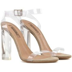 Yeezy Transparent Sandals (SEASON 2) (3296665 PYG) ❤ liked on Polyvore featuring shoes, sandals, heels, white, transparent heel shoes, transparent shoes, white heeled sandals, white sandals and transparent sandals