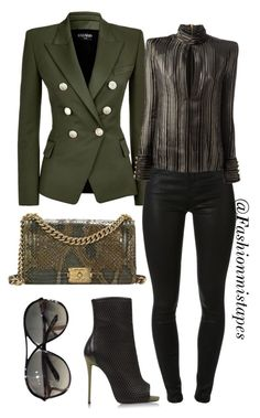 """""""Untitled #21"""" by divamanda on Polyvore featuring Balmain, Giuseppe Zanotti, J Brand, Chanel and Tom Ford"""