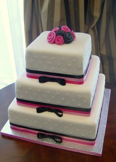 Tiered Fondant Square Cake with Fondant Ribbon Roses and Royal Icing Dots