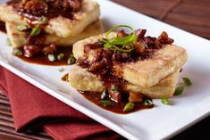 Tofu Steak with Sweet Spicy Walnut Sauce