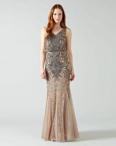 Phase Eight Louise Embellished Full Length Dress Cream