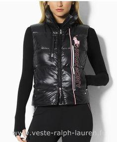 Polo officiel - Ralph Lauren 2013 veste sans manches populaire femmes big  polo impression noir Doudoune 7761a693174a