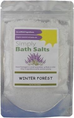 Winter Forest Bath Salts with Organic Oils By Simply Bath Salts by Simply Bath Salts. $12.99. Oregon Tilth certified organic essential oils.. Free of animal testing. Free of animal ingredients.. Mineral rich combination of premium Atlantic Sea salt, therapeutic Epsom salt, and authentic Dead Sea salt.. No artificial ingredients. No synthetic fragrances. No color dyes. No 'filler' products.. Pine, Cedarwood, and Cypress oils are said to be comforting and invigorati...