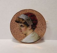 Vintage Victorian 14K Yellow Gold Enamel Portrait of Lady in Bonnet Round Pin