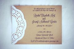 Custom for Charity - Vintage Lace Doily Wedding Invitations with Script - Save the Date - Baby or Bridal Shower  - Engagement Party. $45.00, via Etsy.