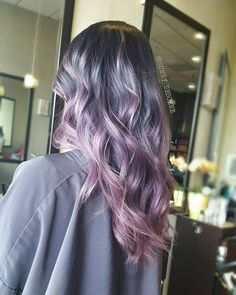 Ashy purple to pink melt hair color colored / dyed hair воло Silver Purple Hair, Blue Grey Hair, Hair Color Purple, Cool Hair Color, Pink Hair, Purple Gray, Purple Ombre, Silver Color, Violet Hair
