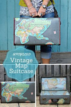 Make a fabulous map suitcase, by upcycling a vintage suitcase with maps.   This map suitcase has maps both on the inside and out.  Full tutorial.