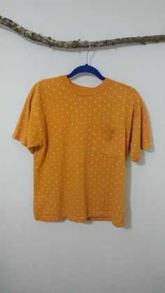 Vintage yellow with white polka dots t-shirt/size small Define Self, Polka Dot T Shirts, Urban Outfits, My Etsy Shop, Polka Dots, Trending Outfits, Handmade Gifts, Sweaters, Clothes