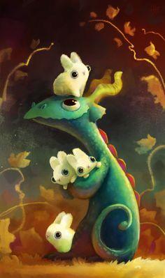Dragón cuidando conejitos